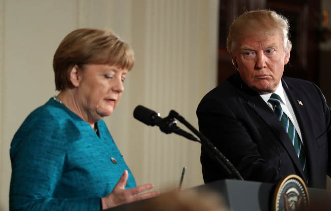 Common Bonds Aside, Trump  and Merkel Show Little Rapport