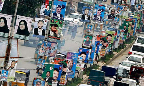 Kabul: Decorated with Campaigner's Posters