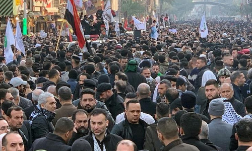 Hundreds of  Thousands of  Mourners Are  Gathering for The  Funeral of Iranian General Qassem  Soleimani
